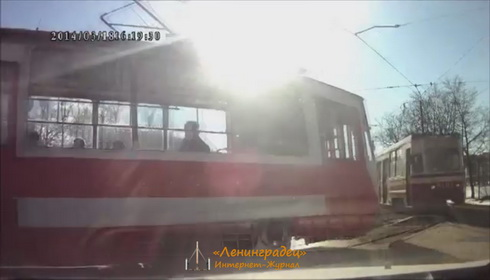 ДТП с двумя трамваями на пр. Стачек